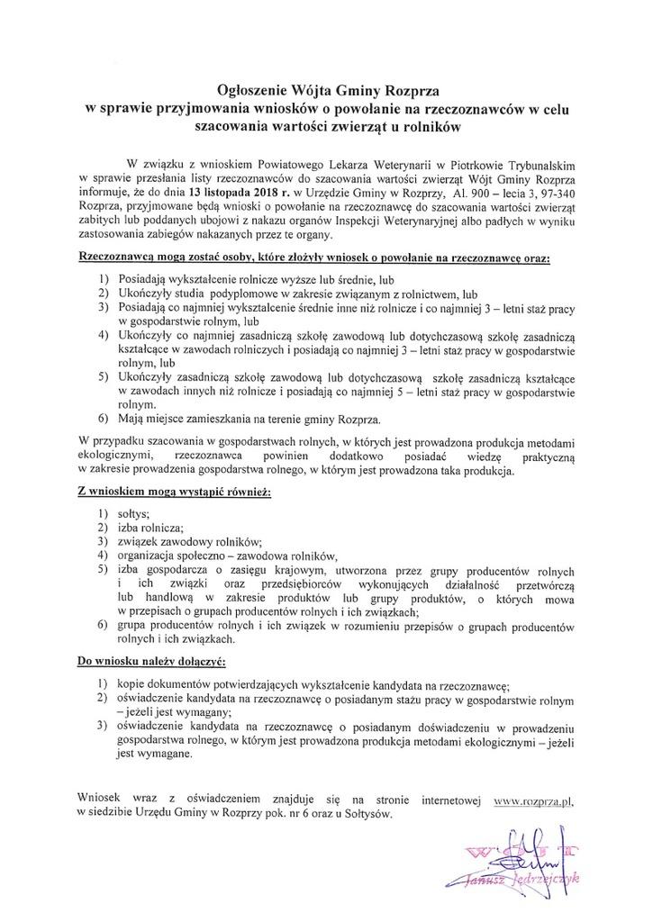 Ogłoszenie Wójta Gminy Rozprza w sprawie przyjmowania wniosków o powołanie rzeczoznawców w celu szacowania wartości zwierząt u rolników.jpeg