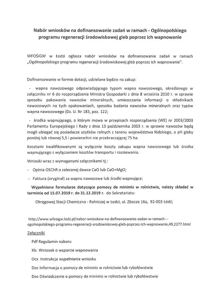 Nabór wniosków na dofinansowanie zadań w ramach - Ogólnopolskiego programu regeneracji środowiskowej gleb poprzez ich wapnowanie.jpeg