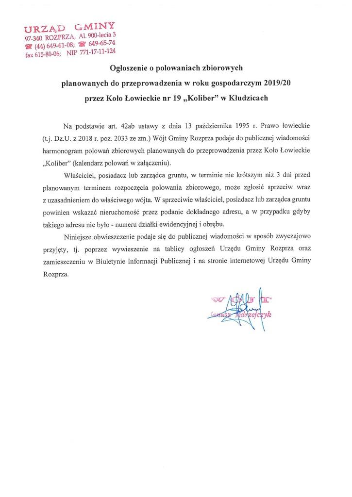 Ogłoszenie o polowaniach zbiorowych planowanych do przeprowadzenia w roku gospodarczym 2019_20 przez koło Łowieckie nr 19 Koliber w Kłudzicach.jpeg