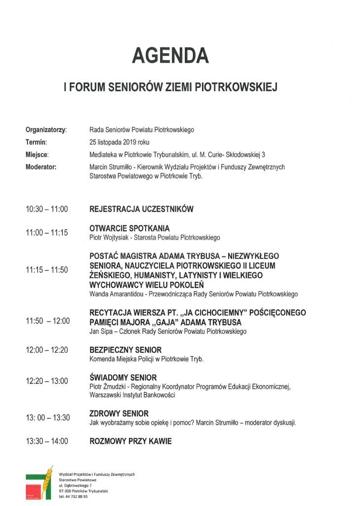 I Forum Seniorów Ziemi Piotrkowskiej agenda.jpeg