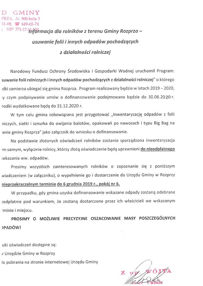 Informacja dla rolników z terenu Gminy Rozprza - usuwanie folii i innych odpadów pochodzących z działalności rolniczej.jpeg