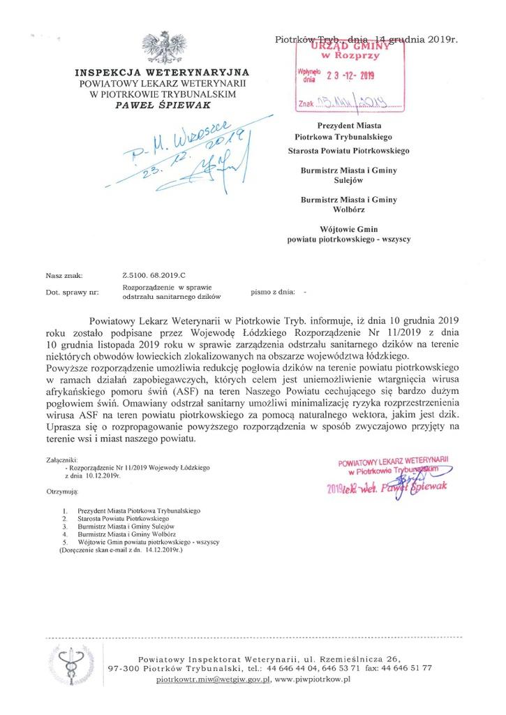 Rozporządzenie nr 11 2019 Wojewody Łódzkiego ws zarządzenia odstrzału sanitarnego dzików pismo.jpeg