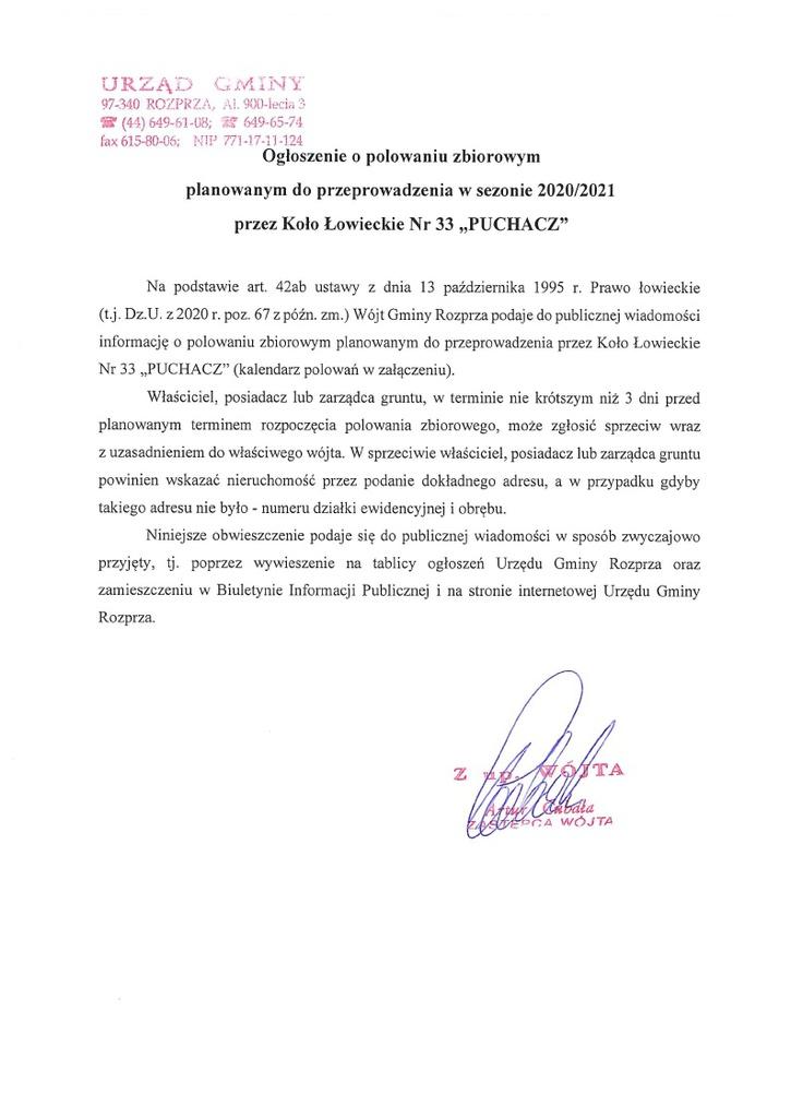 Ogłoszenie o polowaniach zbiorowych planowanych do przeprowadzenia przez KŁ nr 33 Puchacz.jpeg