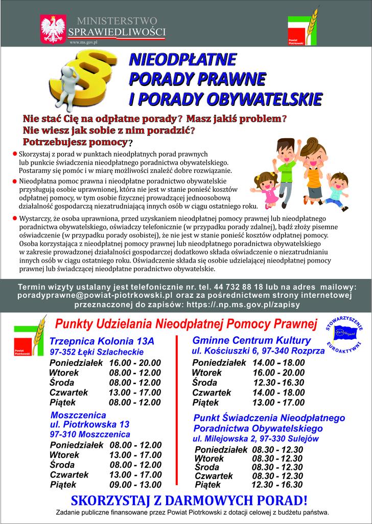 Plakat nieodpłatne porady prawne i obywatelskie 2021r..jpeg