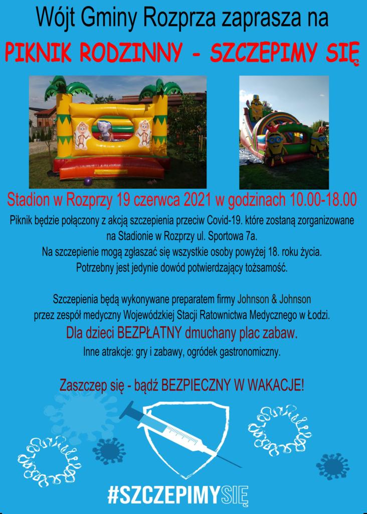Plakat - zaproszenie na piknik rodzinny pod hasłem szczepimy się