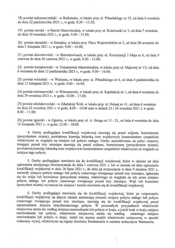Obwieszczenie nr 13 Wojewody Łódzkiego w sprawie ogłoszenia kwalifikacji wojskowej w 2021 r. na obszarze województwa Łódzkiego
