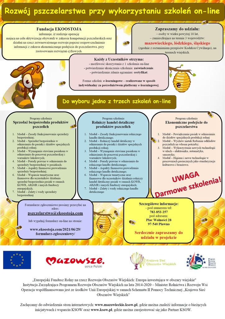 Rozwój pszczelarstwa przy wykorzystaniu szkoleń on-line - plakat informacyjny