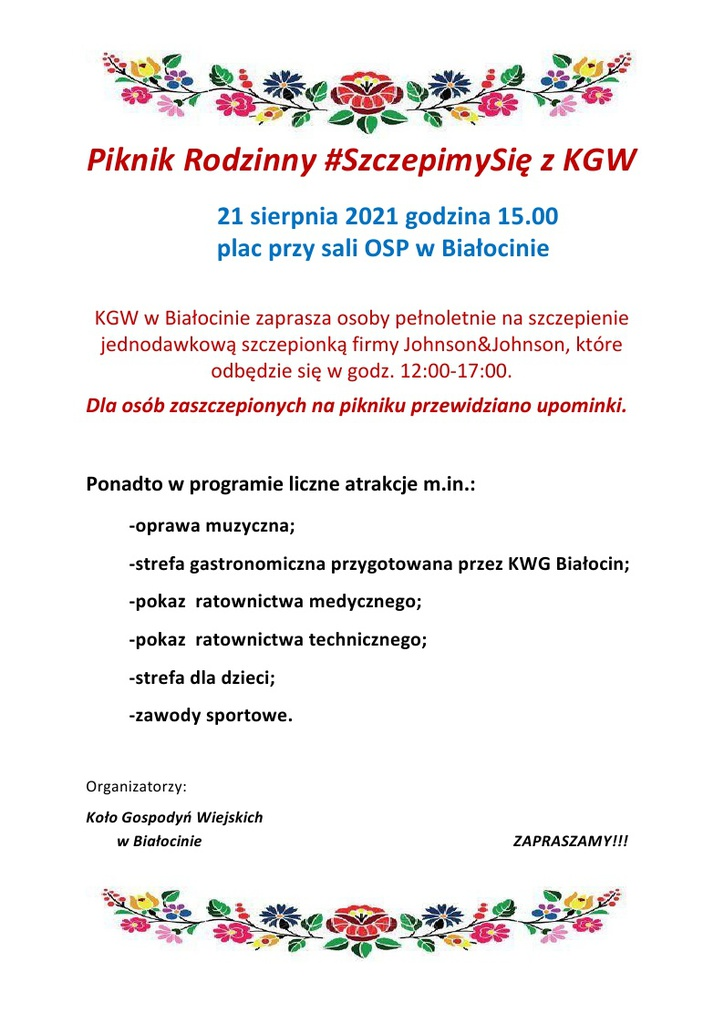 Zaproszenie na piknik Rodzinny SzczepimySię z KGW w Białocinie