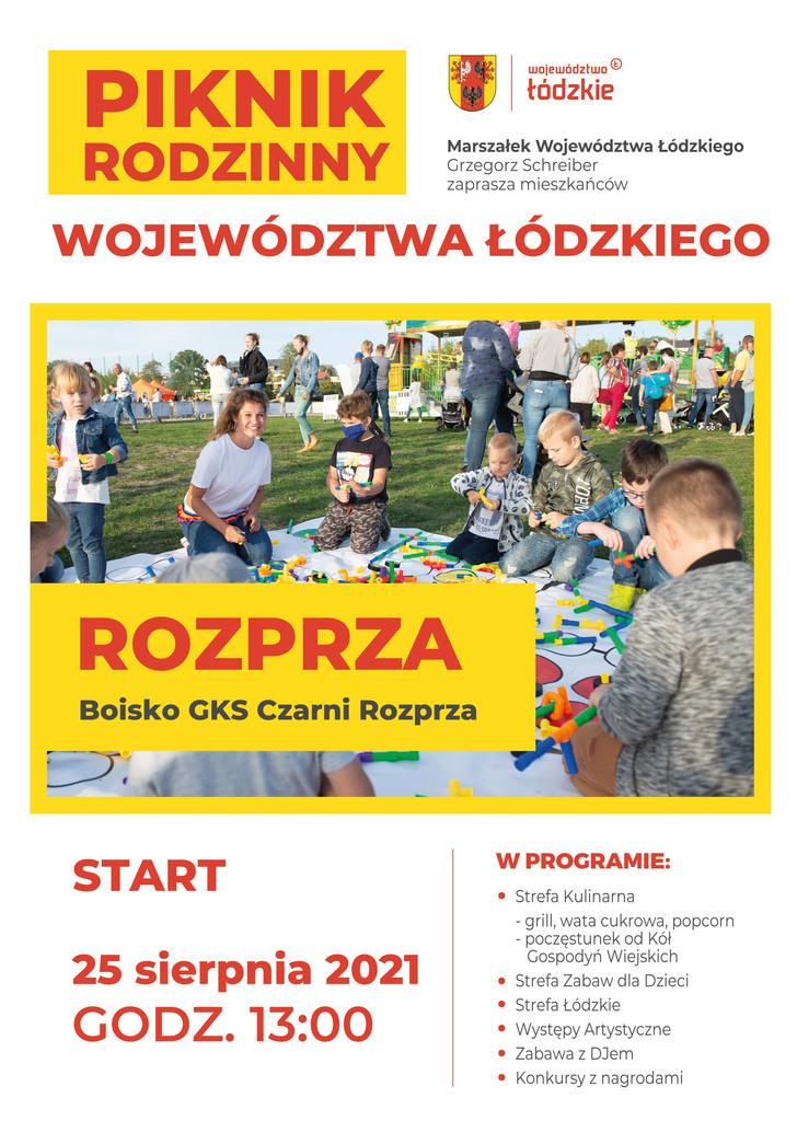 Piknik Rodzinny Województwa Łódzkiego w Rozprzy - plakat