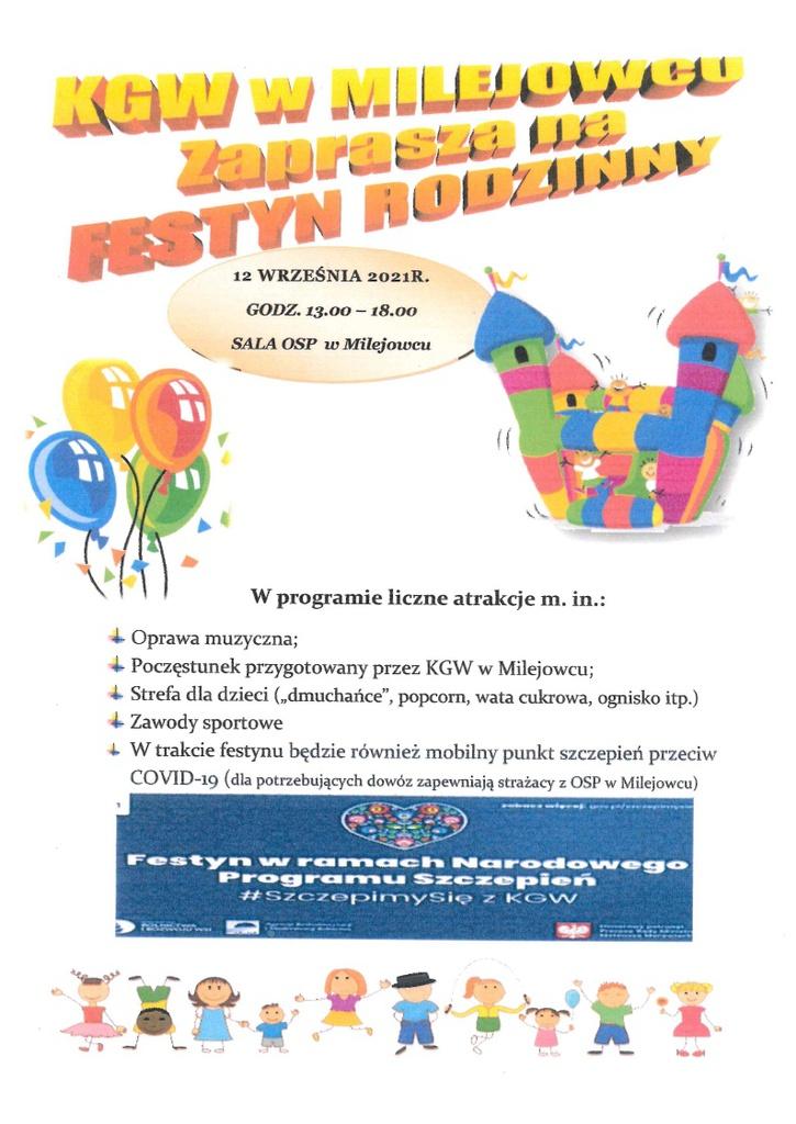 Festyn rodzinny w Milejowcu - plakat