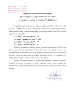 Ogłoszenie o polowniach zbiorowych planowanych do przeprowadzenia w roku 2020 przez Koło Łowiecki nr 24 Orzeł w Kłudzicach.jpeg