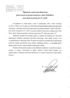Ogłoszenie o polowaniu zbiorowym planowanym do przeprowadzenia w dniu 15 08 2020 przez Koło Łowieckie nr 17 TUR.jpeg