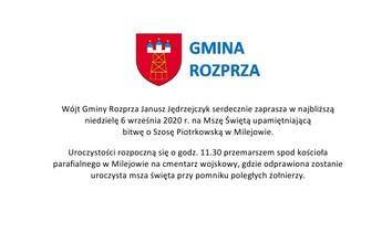 Wójt Gminy Rozprza Janusz Jędrzejczyk serdecznie zaprasza w najbliższą niedzielę 6 września 2020 r.jpeg