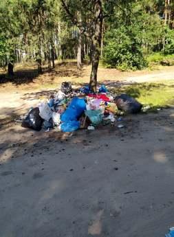 Zalegające śmieci przy zbiorniku wodnym w Cieszanowicach